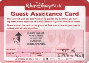 Disney Guest Assistance Card